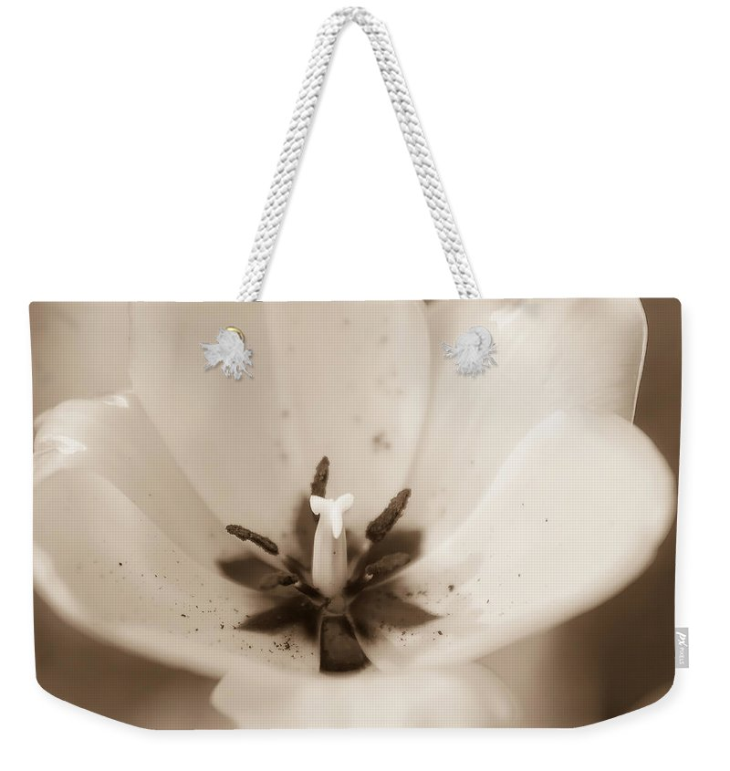 White Weekender Tote Bag featuring the photograph Tulips by Alex Grichenko