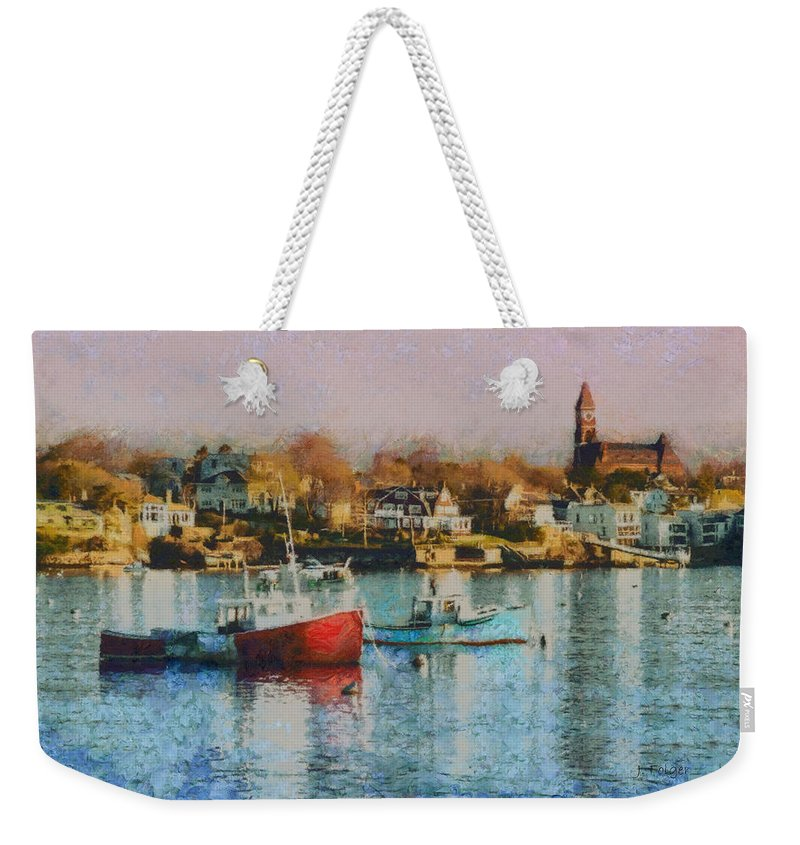 Abott Hall Weekender Tote Bag featuring the photograph Two Lobster Boats On Marblehead Harbor With A Red Sky by Jeff Folger
