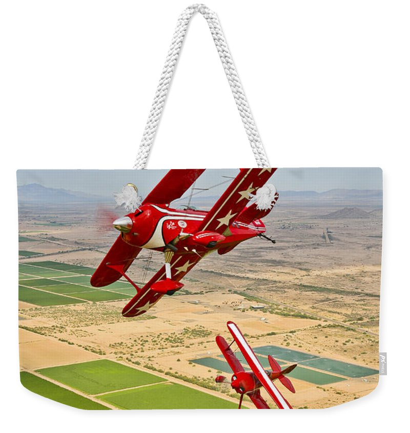 Vertical Weekender Tote Bag featuring the photograph Two Pitts Special S-2a Aerobatic by Scott Germain