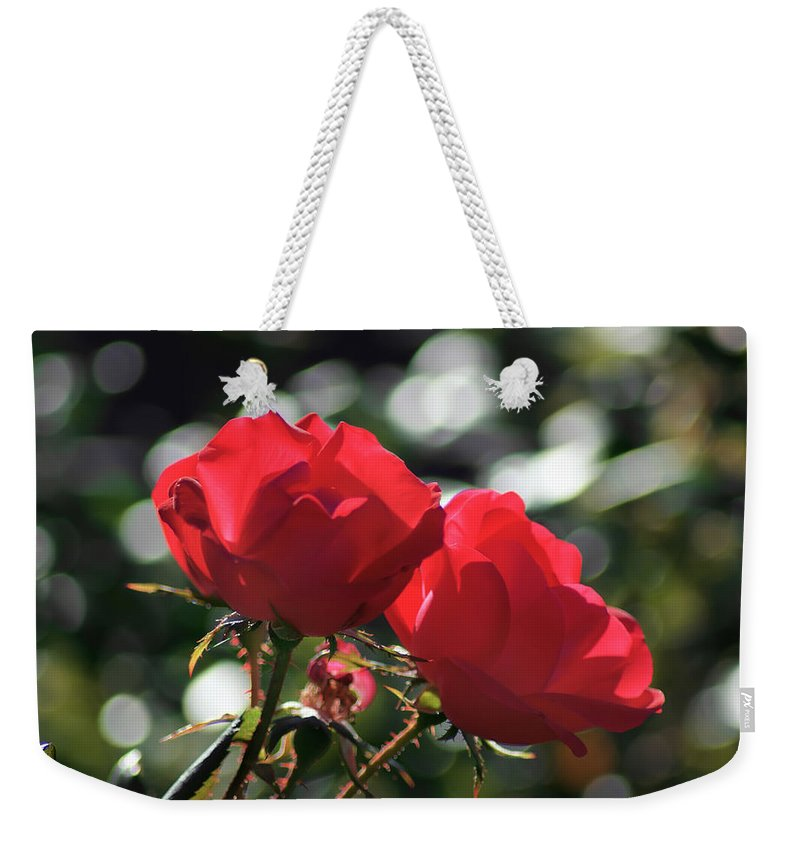 Affection Weekender Tote Bag featuring the photograph Two Red Roses by Alex Grichenko