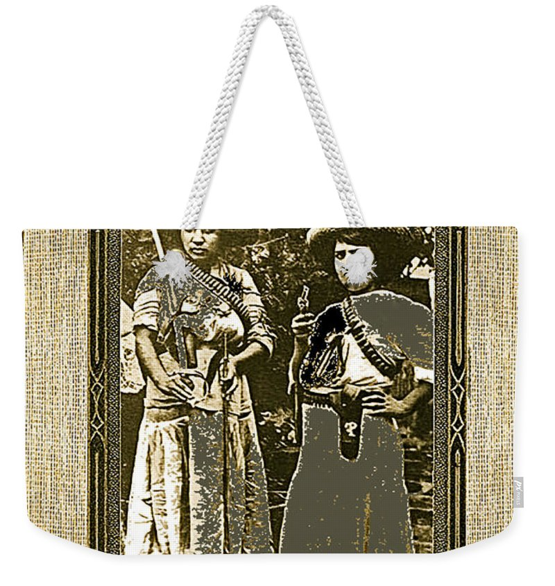 Two Soldaderas Unknown Mexico Location Or Date-2014 Weekender Tote Bag featuring the photograph Two Soldaderas Unknown Mexico Location Or Date-2014 by David Lee Guss