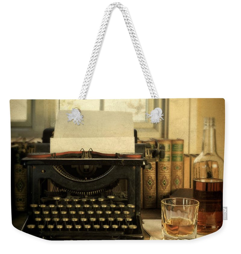Antique Typewriter Weekender Tote Bag featuring the photograph Typewriter And Whiskey by Jill Battaglia