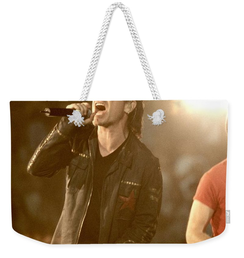 Downloads Weekender Tote Bag featuring the photograph U2 - Bono by Concert Photos