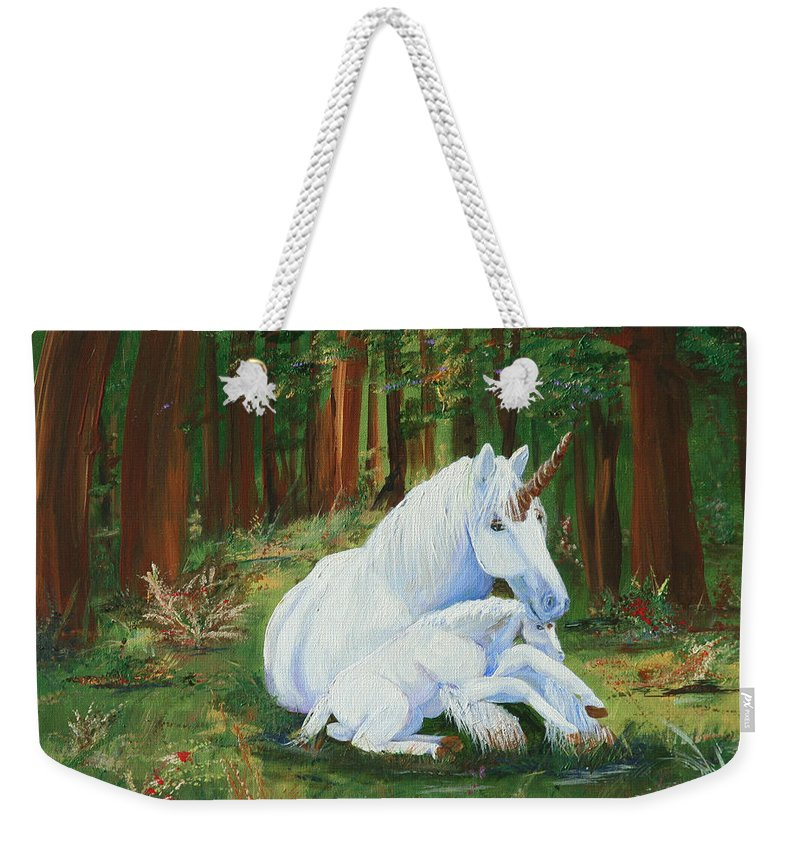 Unicorns Lap Weekender Tote Bag featuring the painting Unicorns Lap by Gail Daley