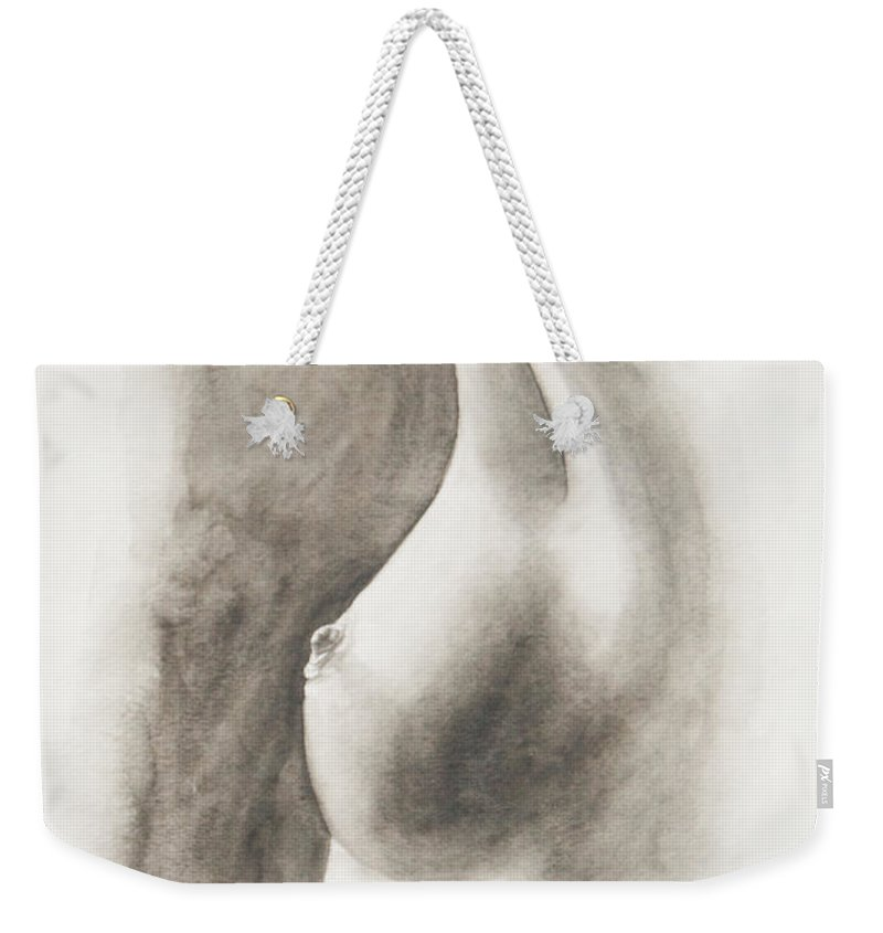 Black-and-white Weekender Tote Bag featuring the painting Untitled by Carolyn Osborne