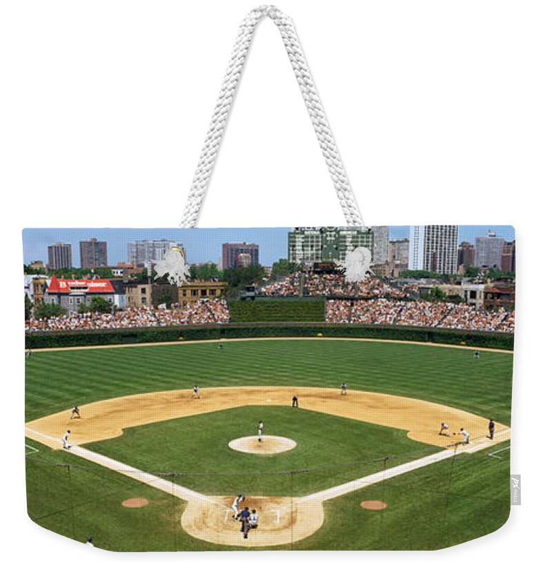 Photography Weekender Tote Bag featuring the photograph Usa, Illinois, Chicago, Cubs, Baseball by Panoramic Images