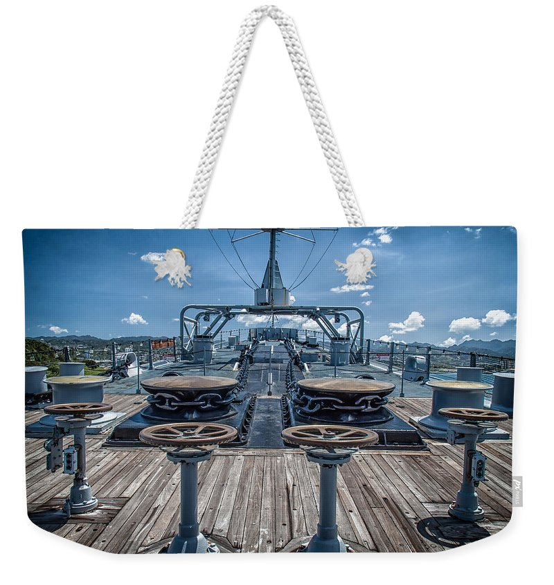 Hawaii Weekender Tote Bag featuring the photograph Uss Missouri Anchor Chain by Mike Burgquist