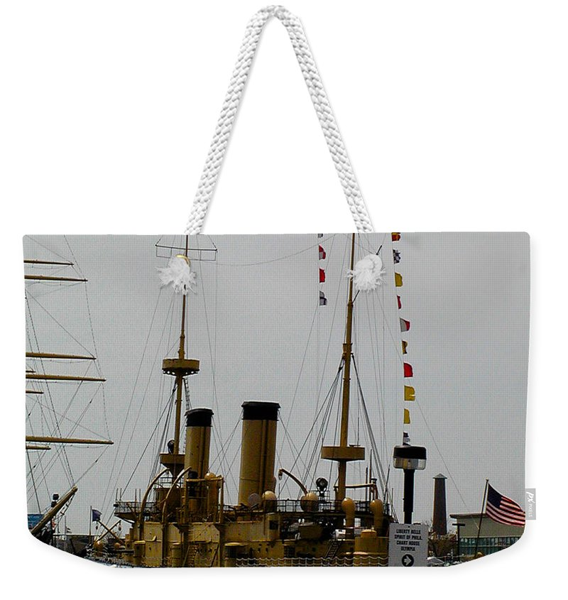 Uss Weekender Tote Bag featuring the photograph Uss Olympia by Bill Cannon