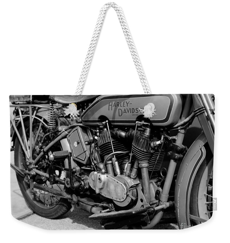 Harley-davidson Weekender Tote Bag featuring the photograph V-twin Engine by Riccardo Mottola