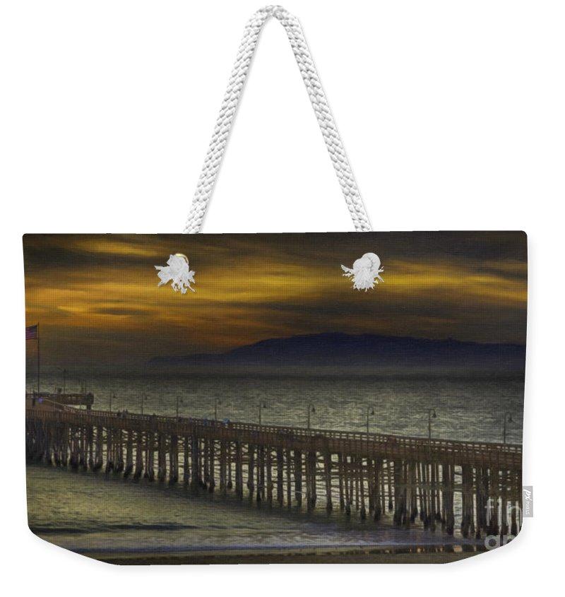 Ventura Weekender Tote Bag featuring the painting Ventura Pier by David Millenheft