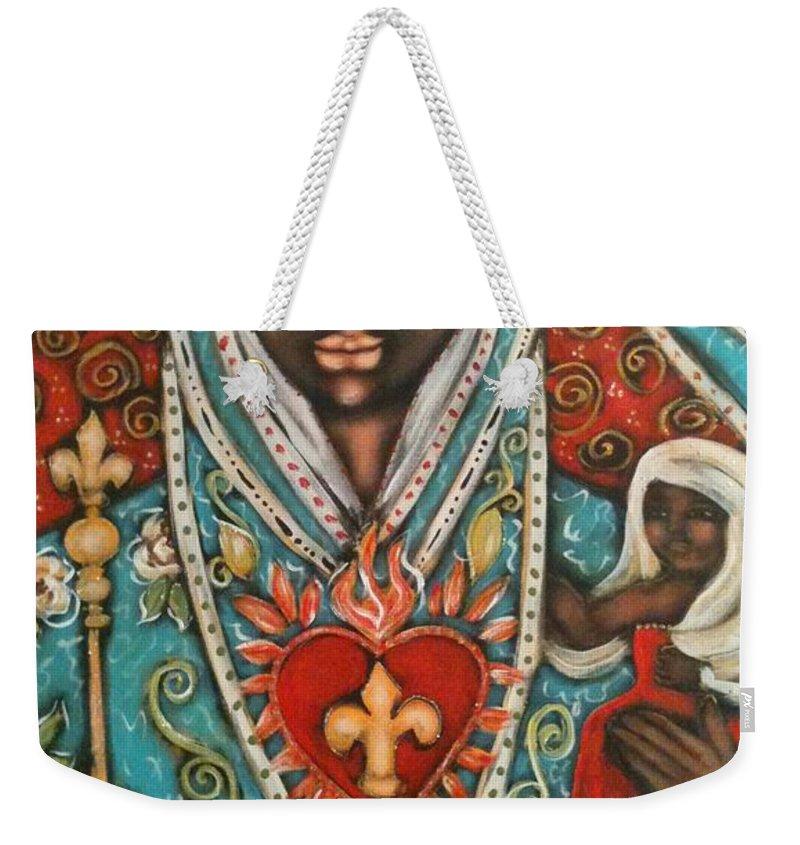 Sacred Art Weekender Tote Bag featuring the painting Vierge Noire De Paris by Maya Telford