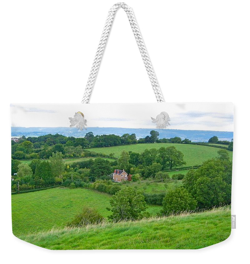 Landscape Weekender Tote Bag featuring the photograph View From Glastonbury Tor by Denise Mazzocco