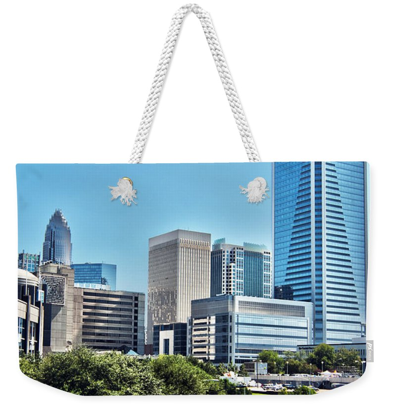 District Weekender Tote Bag featuring the photograph view of Charlotte North Carolina by Alex Grichenko
