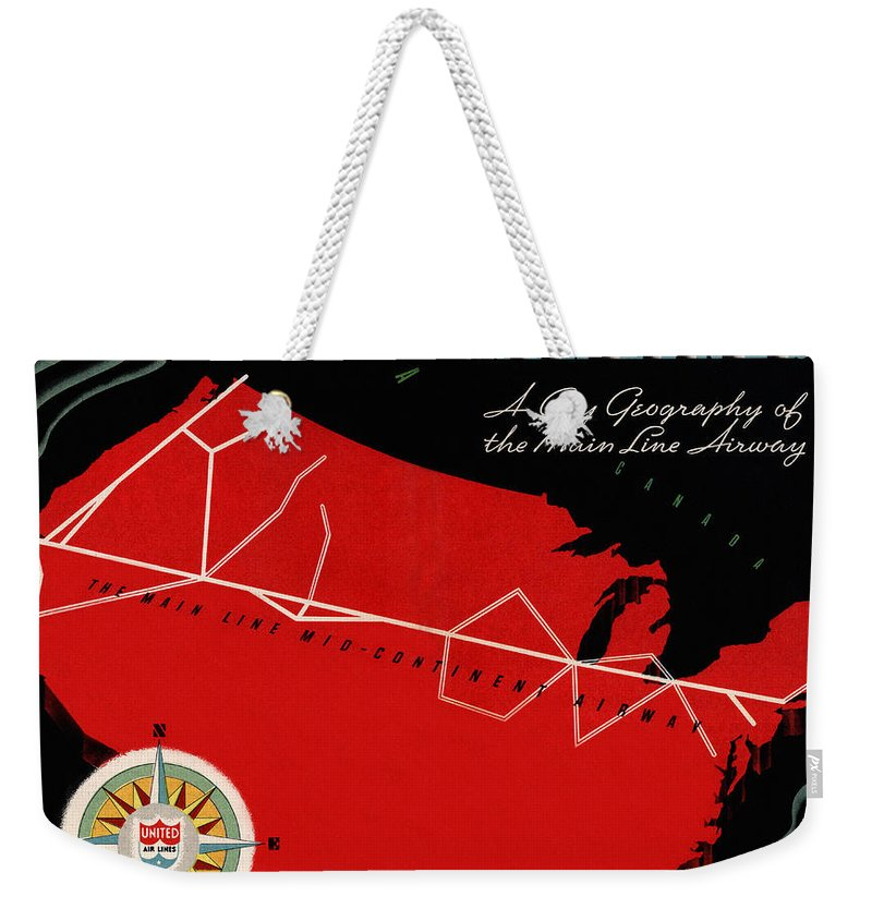 Airplane Weekender Tote Bag featuring the photograph Vintage Airline Ad 1939 by Andrew Fare