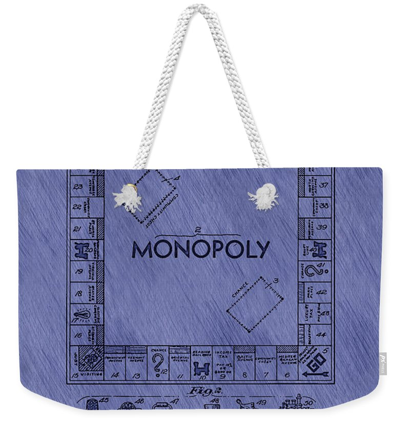 Patent Weekender Tote Bag featuring the drawing Vintage Monopoly Game Patent by Mountain Dreams