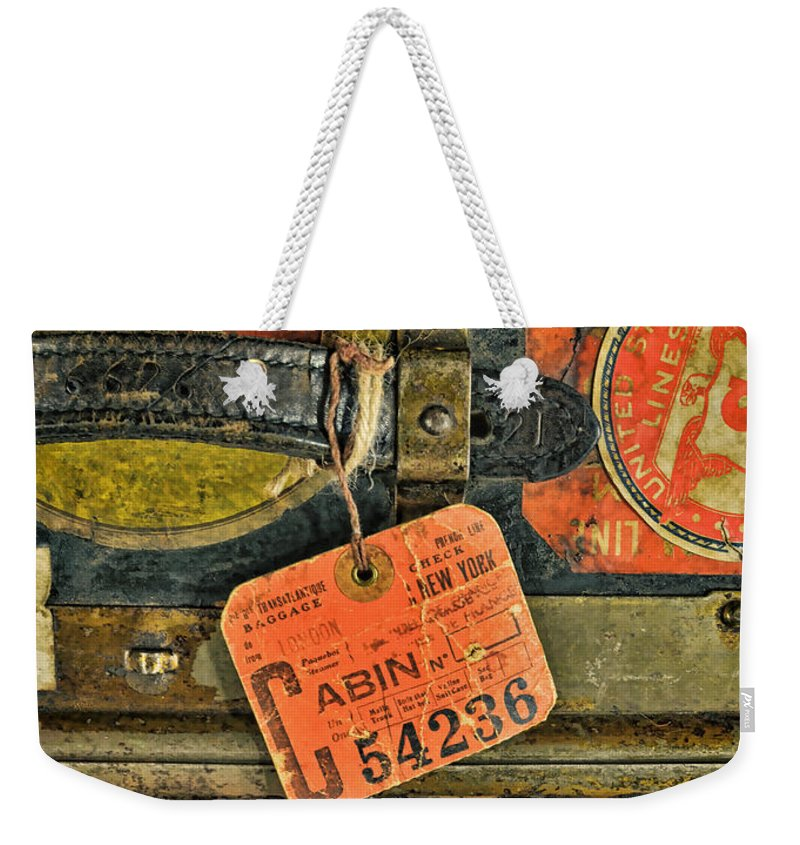 Luggage Weekender Tote Bag featuring the photograph Vintage Steamer Trunk by Jill Battaglia
