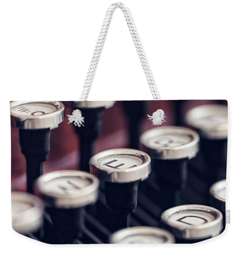 Alphabet Weekender Tote Bag featuring the photograph Vintage Typewriter Keys by Leslie Banks
