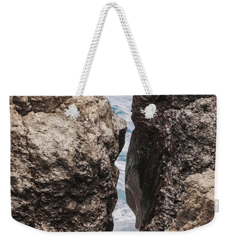 Water Wave Waves Pacific Ocean Oceans Sea Seas Rock Rocks Wai'anapanapa State Park Road To Hana Maui Hawaii Odds And Ends Weekender Tote Bag featuring the photograph Water Hole by Bob Phillips