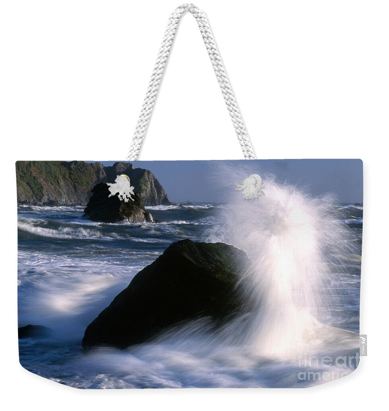 Wave Weekender Tote Bag featuring the photograph Waves Breaking On Shore by Jim Corwin