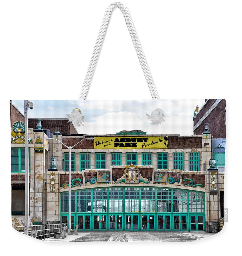 Welcome Weekender Tote Bag featuring the photograph Welcome To The Asbury Park Boardwalk by Bill Cannon