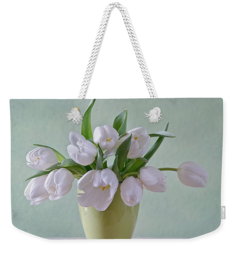 Tulpen Weekender Tote Bag featuring the photograph White Tulips by Steffen Gierok
