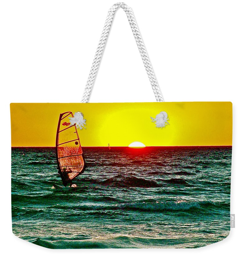 Windsurfer At Sunset On Lake Michigan From Empire Weekender Tote Bag featuring the photograph Windsurfer At Sunset On Lake Michigan From Empire-michigan by Ruth Hager