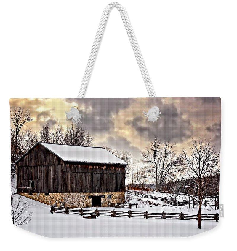 Barn Weekender Tote Bag featuring the photograph Winter Barn by Steve Harrington