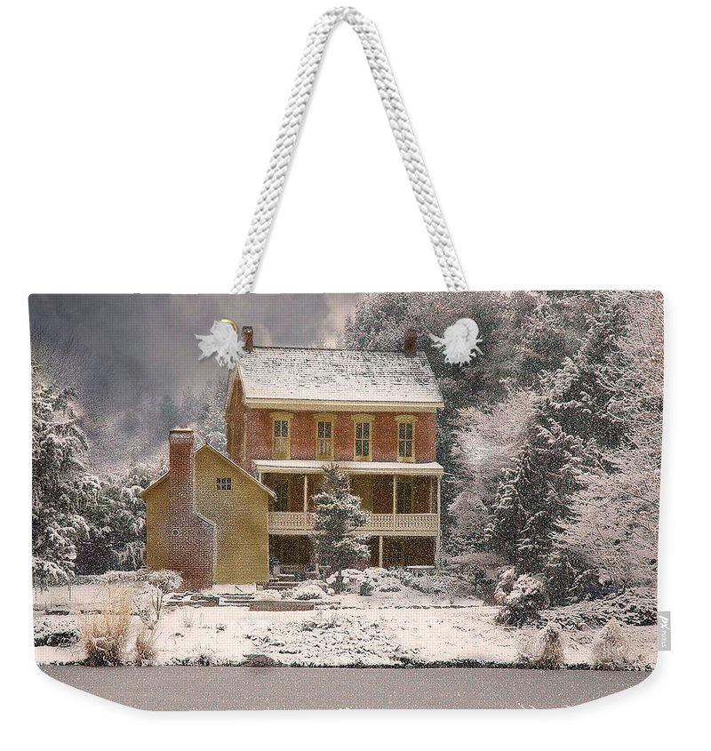 Farm Weekender Tote Bag featuring the photograph Winter Farm House by Fran J Scott