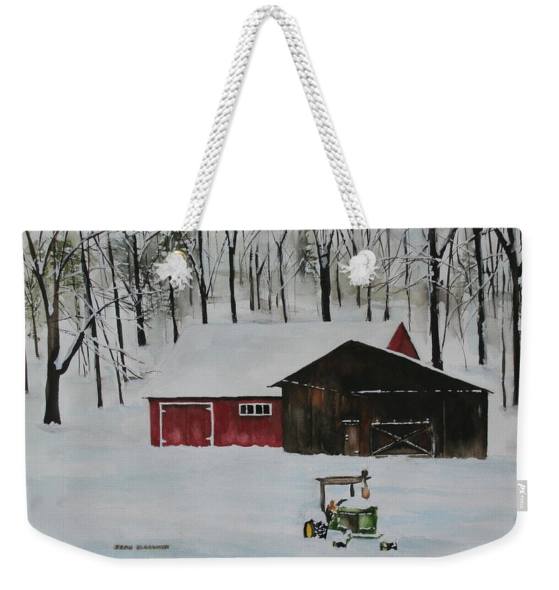 Winter Weekender Tote Bag featuring the painting Winter Solitude by Jean Blackmer