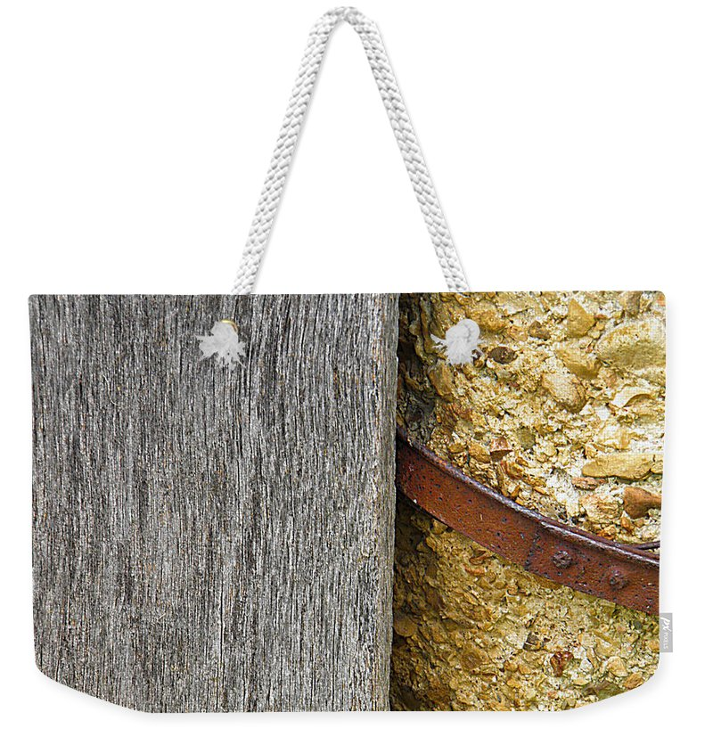 Wood Weekender Tote Bag featuring the photograph Wood Concrete And Steel In Color by Nick Kirby