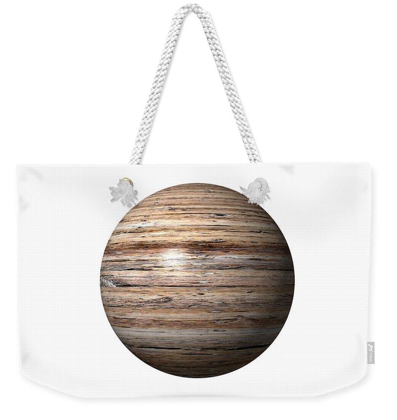 Wood Weekender Tote Bag featuring the digital art Wooden Globe by Henrik Lehnerer