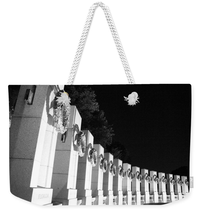 World War Weekender Tote Bag featuring the photograph World War Pillars by Cora Wandel