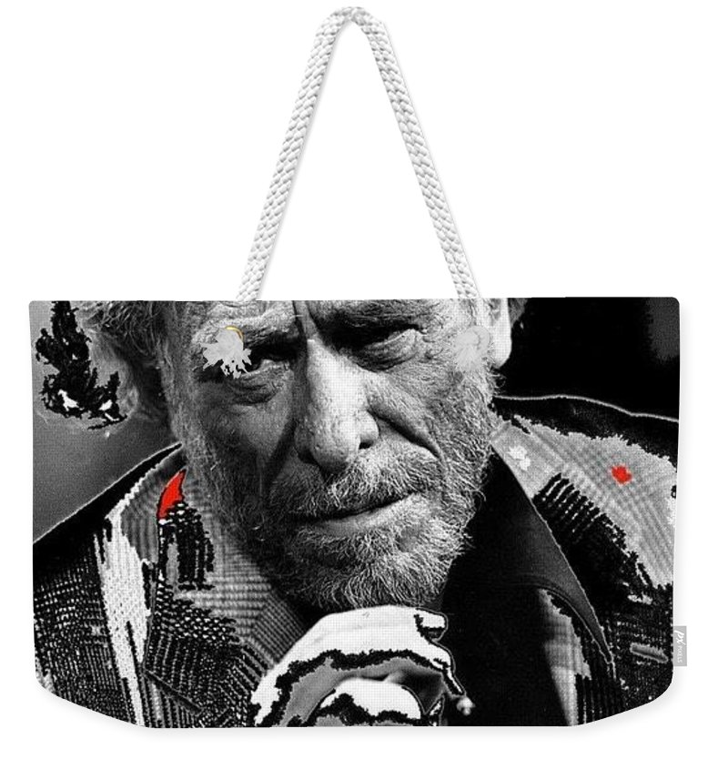 Writer Charles Bukowski On Tv Show Apostrophes In September 1978 Weekender Tote Bag featuring the photograph Writer Charles Bukowski On Tv Show Apostrophes In September 1978-2013 by David Lee Guss