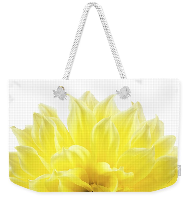 Dahlia Weekender Tote Bag featuring the photograph Yellow Dahlia Flower by Keith Webber Jr