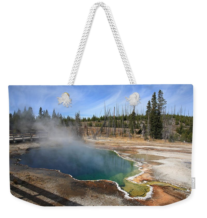 America Weekender Tote Bag featuring the photograph Yellowstone Park - Geyser by Frank Romeo