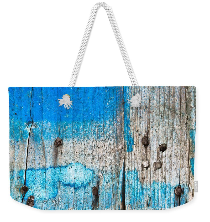 Architecture Abstract Weekender Tote Bag featuring the photograph Blue Wood by Tom Gowanlock