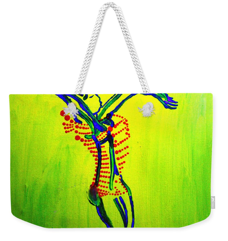 Jesus Weekender Tote Bag featuring the painting Dinka Dance - South Sudan by Gloria Ssali