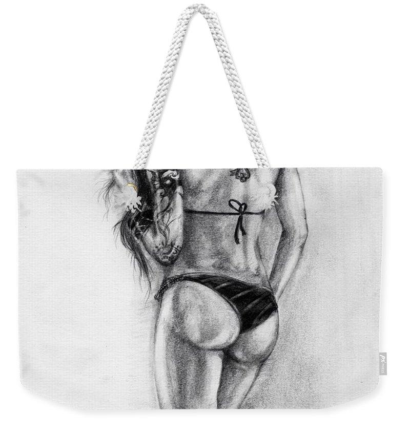 Model Weekender Tote Bag featuring the drawing Model by Alban Dizdari