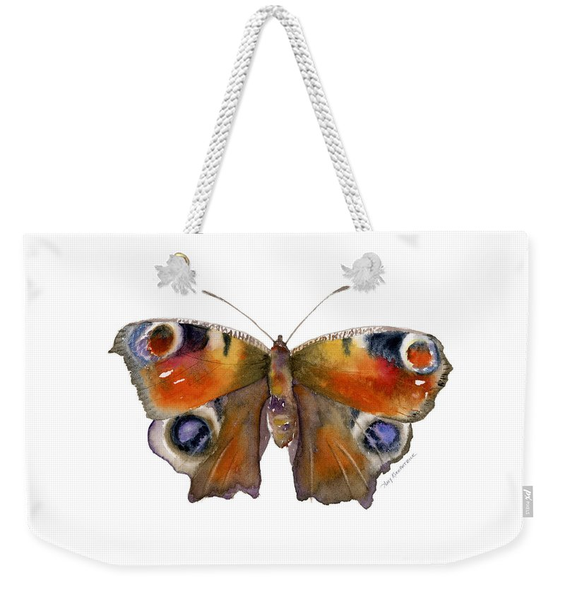 Peacock Weekender Tote Bag featuring the painting 10 Peacock Butterfly by Amy Kirkpatrick