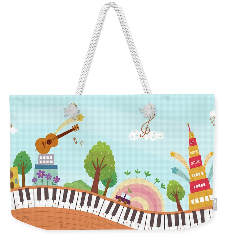 Event Weekender Tote Bag featuring the digital art View Of Town by Eastnine Inc.