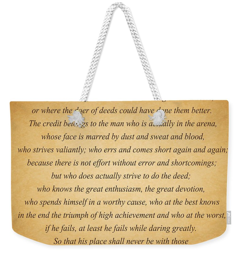 Theodore Roosevelt Weekender Tote Bag featuring the photograph 104- Theodore Roosevelt by Joseph Keane