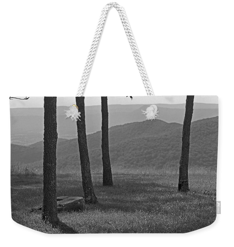 Alpine Weekender Tote Bag featuring the photograph Blue Ridge Mountains - Virginia Bw 9 by Frank Romeo