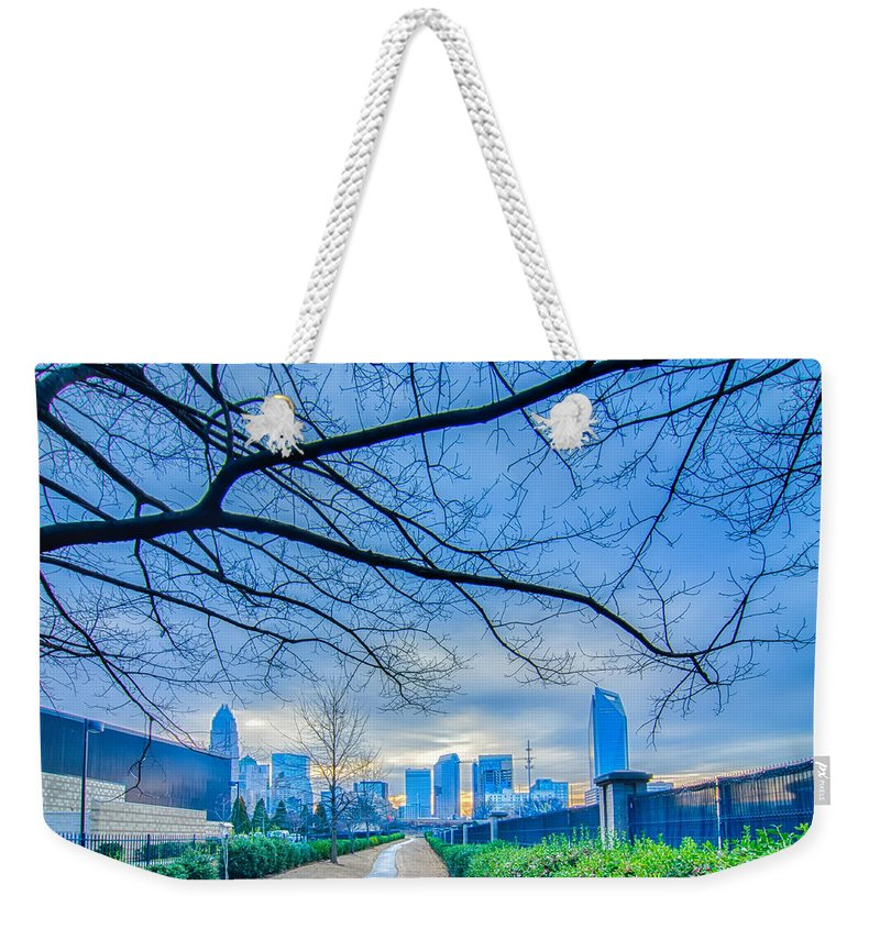 Alarm Weekender Tote Bag featuring the photograph Charlotte Downtown by Alex Grichenko