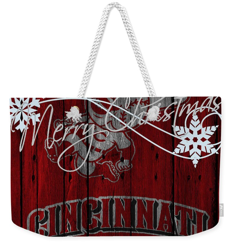 Reds Weekender Tote Bag featuring the photograph Cincinnati Reds by Joe Hamilton