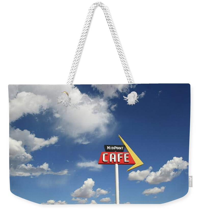 66 Weekender Tote Bag featuring the photograph Route 66 Cafe by Frank Romeo