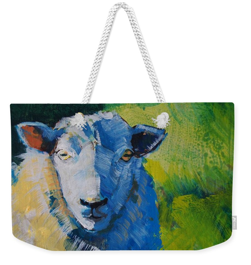 Sheep Weekender Tote Bag featuring the painting Sheep by Mike Jory