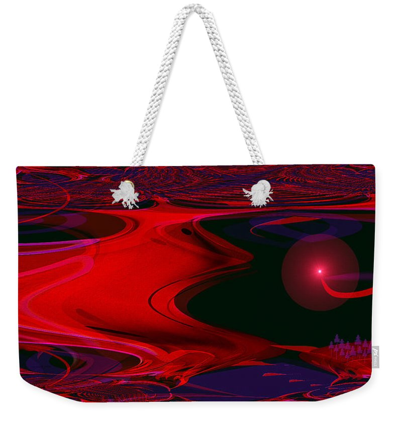 1137 Weekender Tote Bag featuring the painting 1137 - Parallel Universe by Irmgard Schoendorf Welch