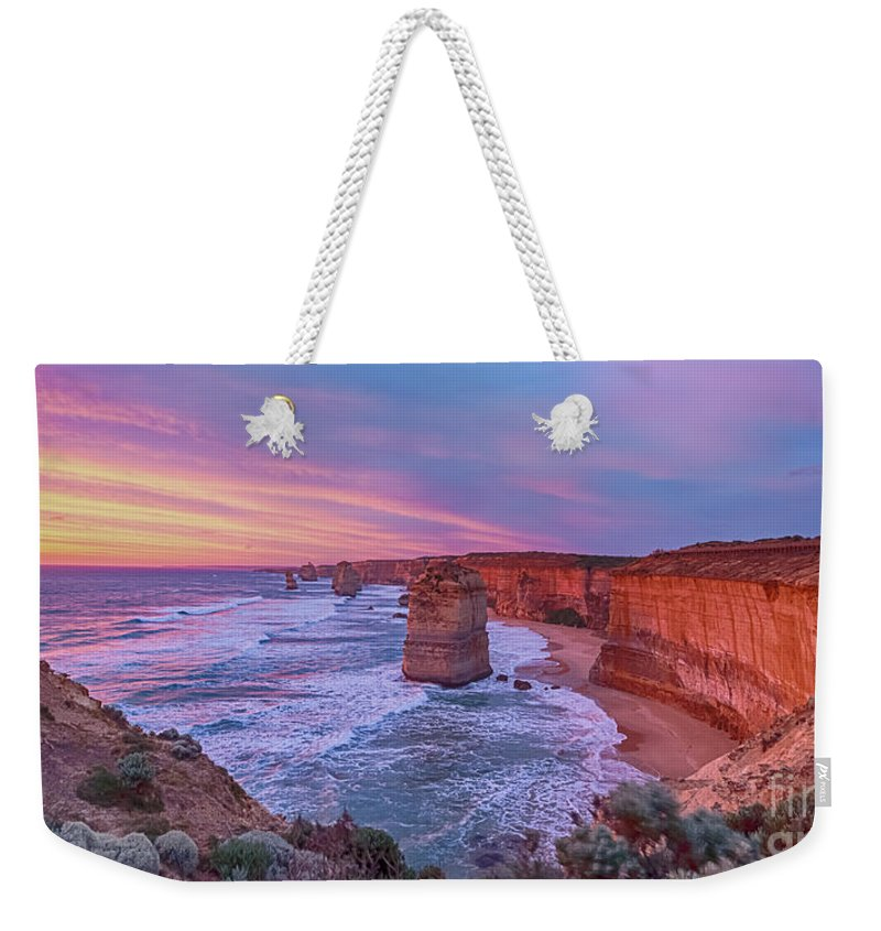 Australia Weekender Tote Bag featuring the photograph 12 Apostles At Sunset Pano by Ray Warren