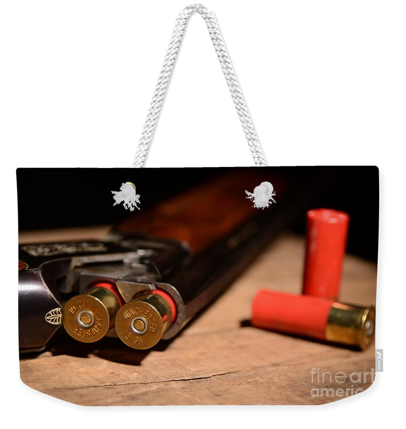 Shotgun Weekender Tote Bag featuring the photograph 12 Gauge Over And Under Shotgun by Jt PhotoDesign
