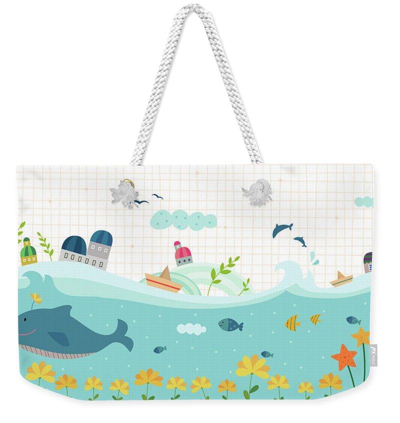 Seaweed Weekender Tote Bag featuring the digital art View Of Town by Eastnine Inc.
